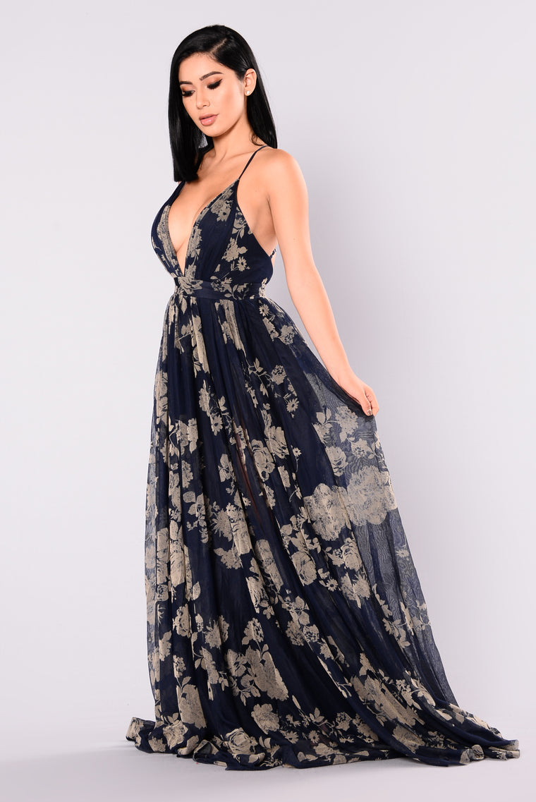 Limited Addiction Mesh Floral Dress - Navy