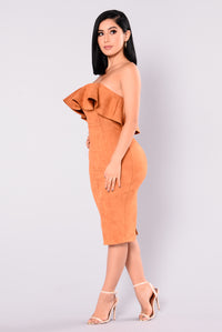 Calling My Name Suede Dress - Camel