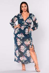 Anabella Floral Maxi Dress - Teal