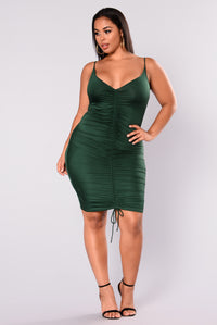 Shanghai Ruched Dress - Hunter Green Angle 8