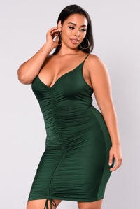 Shanghai Ruched Dress - Hunter Green Angle 6
