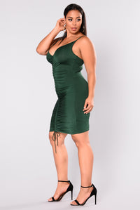 Shanghai Ruched Dress - Hunter Green Angle 9