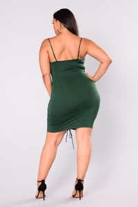 Shanghai Ruched Dress - Hunter Green Angle 7