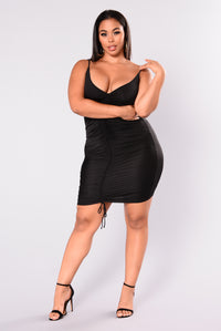 Shanghai Ruched Dress - Black Angle 7