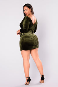 Staying Alive Dress - Olive Green