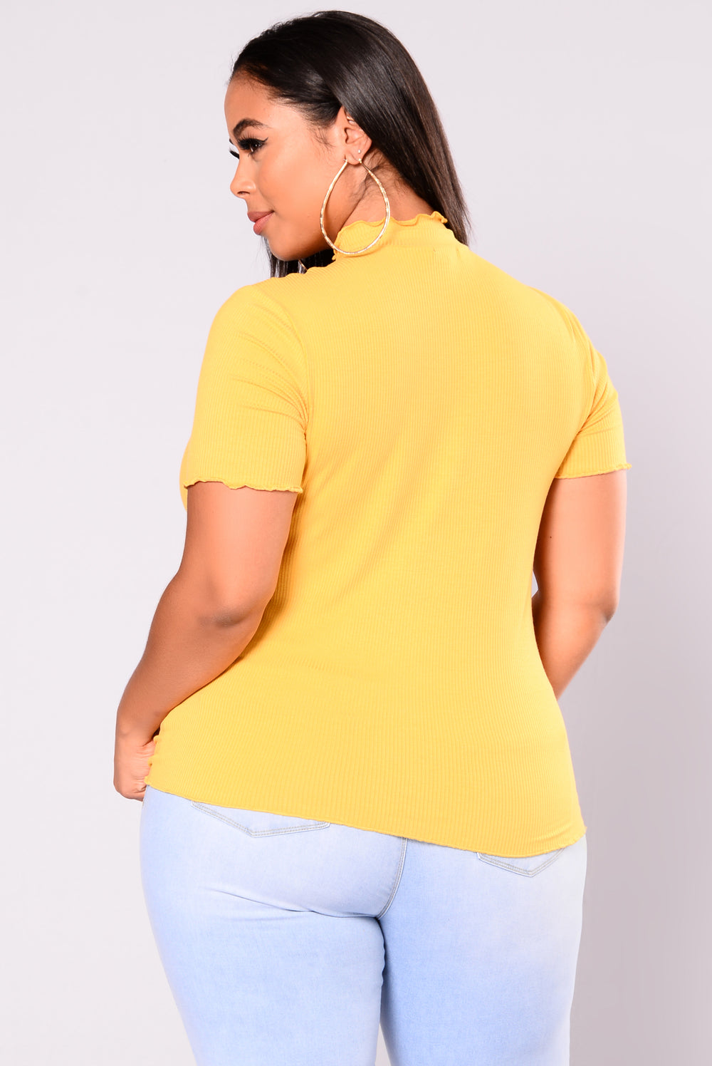 Timeline Ribbed Top - Mustard