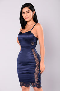 Angels Be Calling Lace Dress - Navy