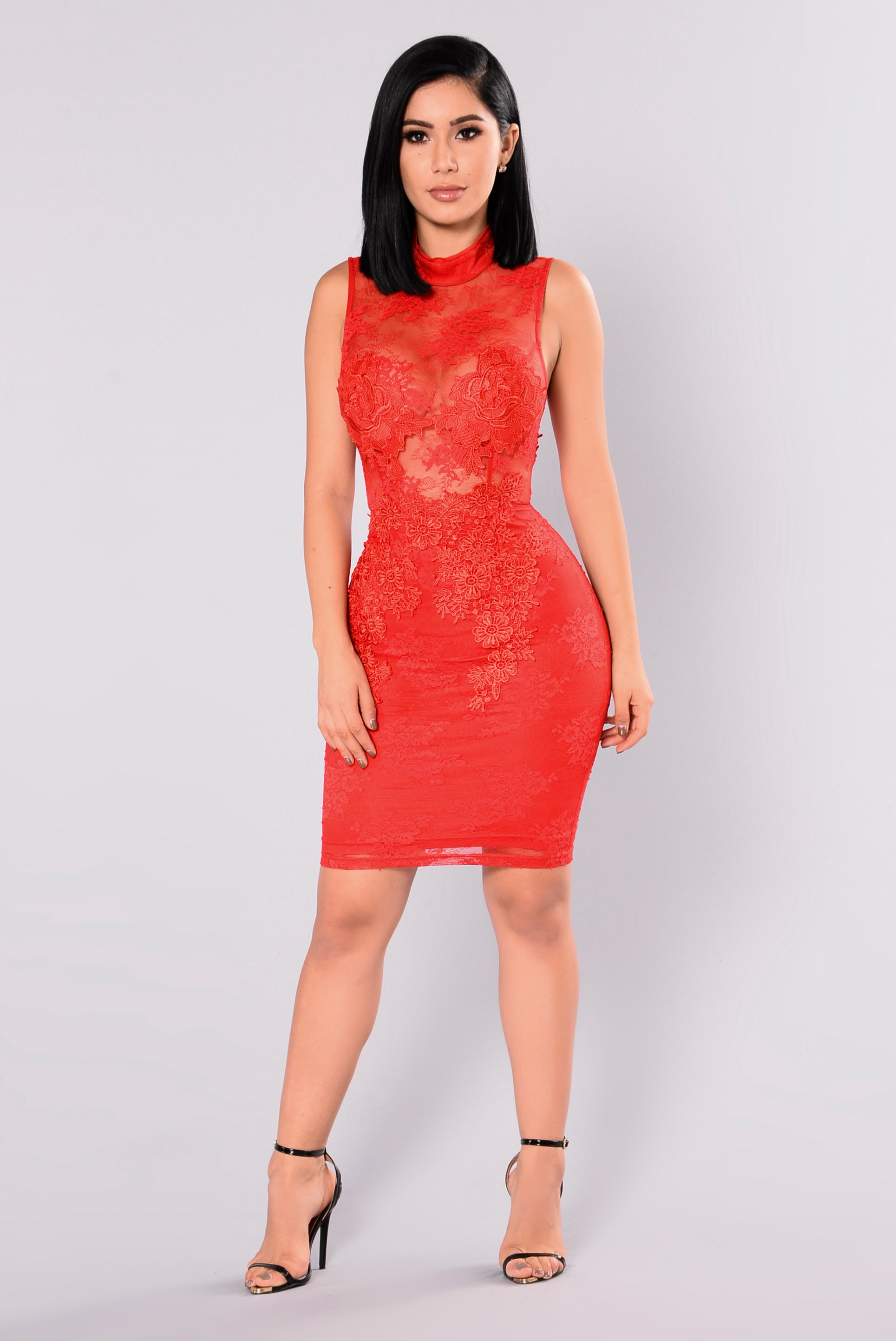 Prue Lace Dress - Red Red Dresses Om