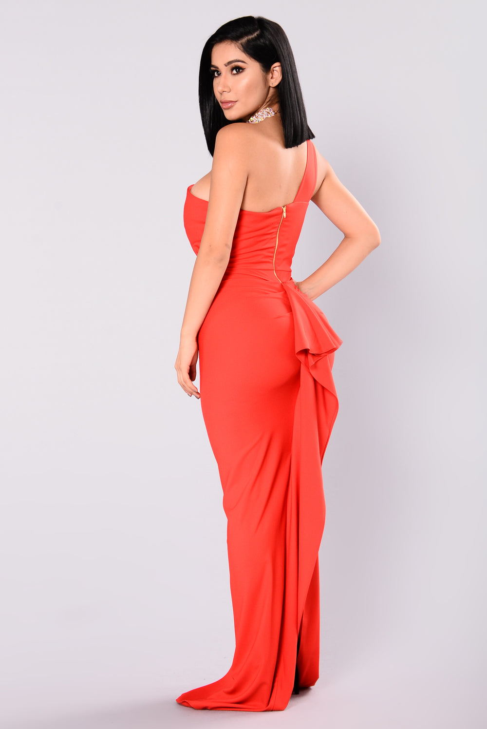 Affair Ruffle Dress - Red