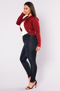 Rake It Up Moto Jacket - Burgundy