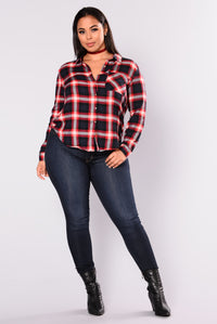 Bryson Plaid Top - Navy Angle 2