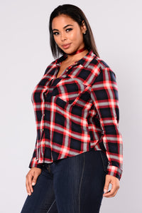 Bryson Plaid Top - Navy Angle 3