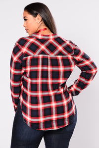 Bryson Plaid Top - Navy Angle 6