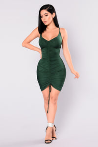 Shanghai Ruched Dress - Hunter Green Angle 2