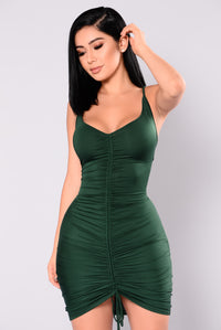 Shanghai Ruched Dress - Hunter Green Angle 1