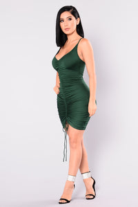Shanghai Ruched Dress - Hunter Green Angle 4