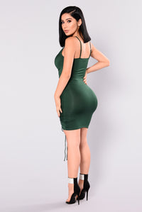 Shanghai Ruched Dress - Hunter Green Angle 5