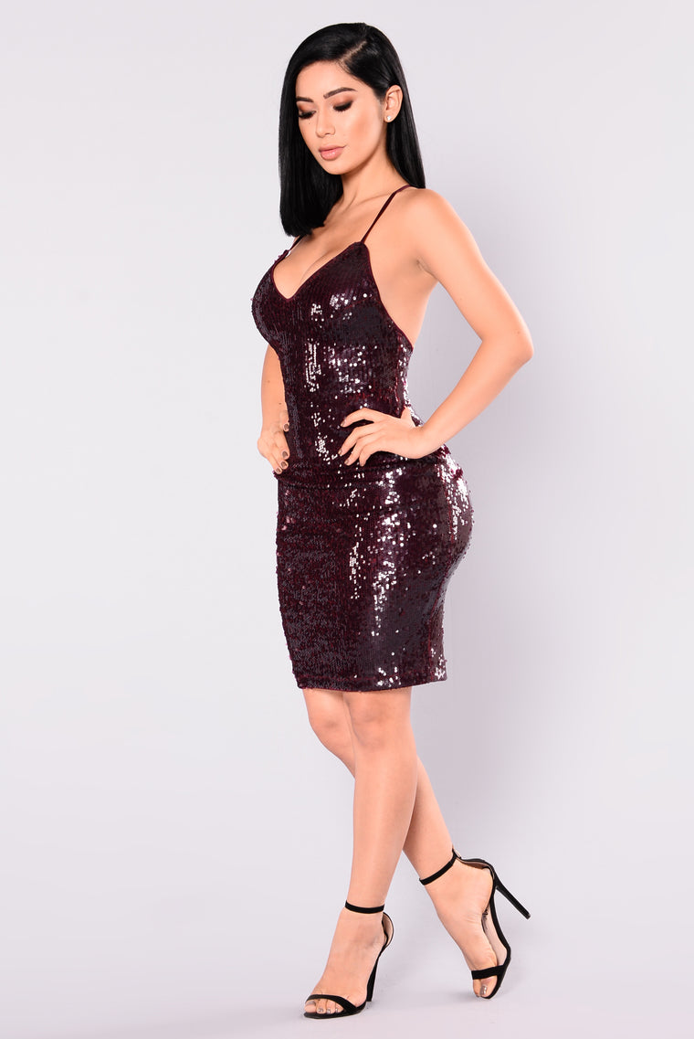 Alejandra Sequin Dress - Burgundy