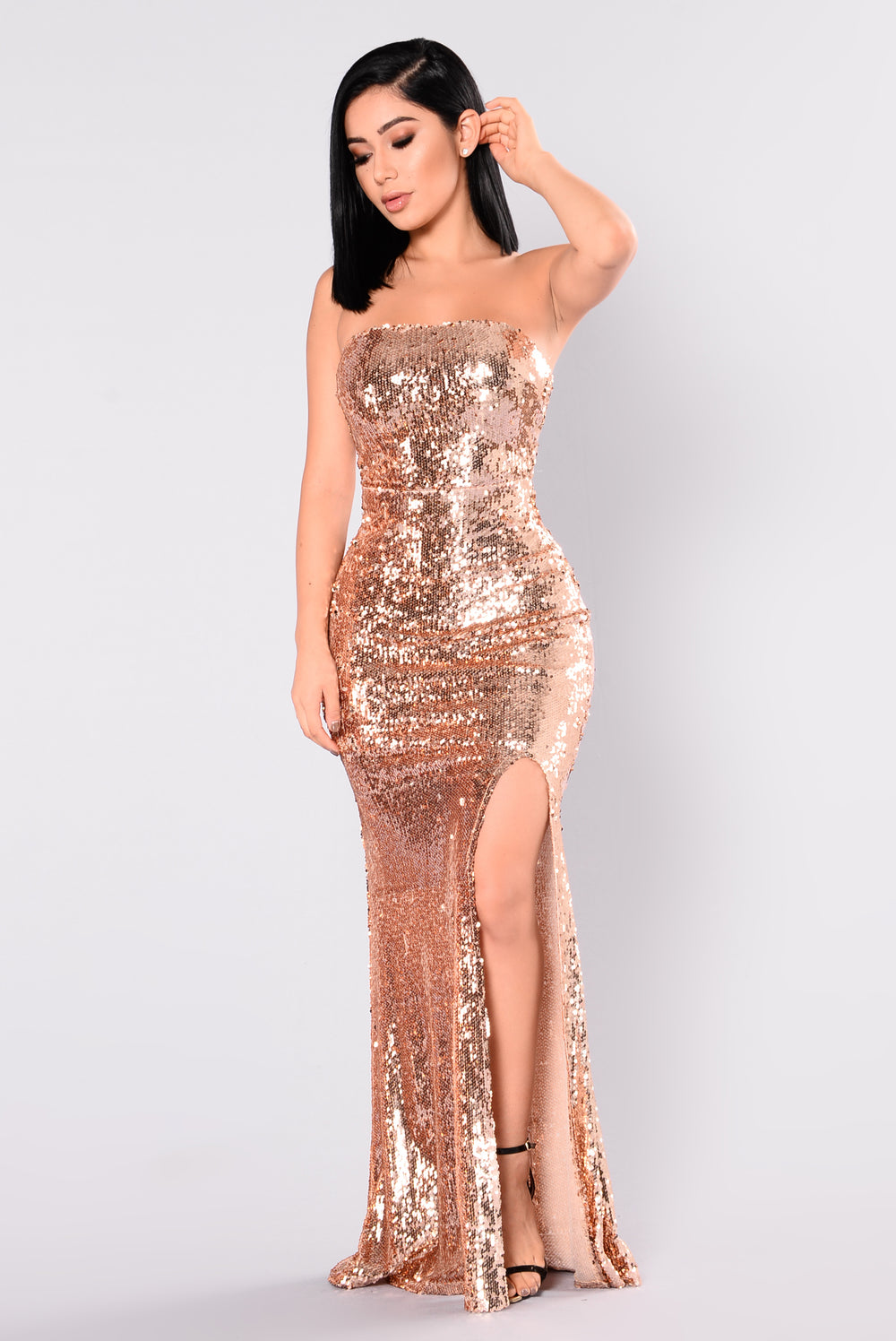 Make A Scene Sequin Dress - Rose Gold