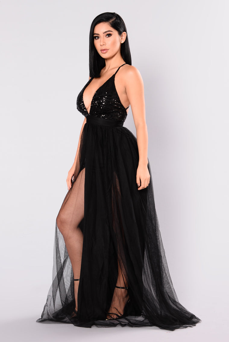 Majestic Sequin Dress - Black