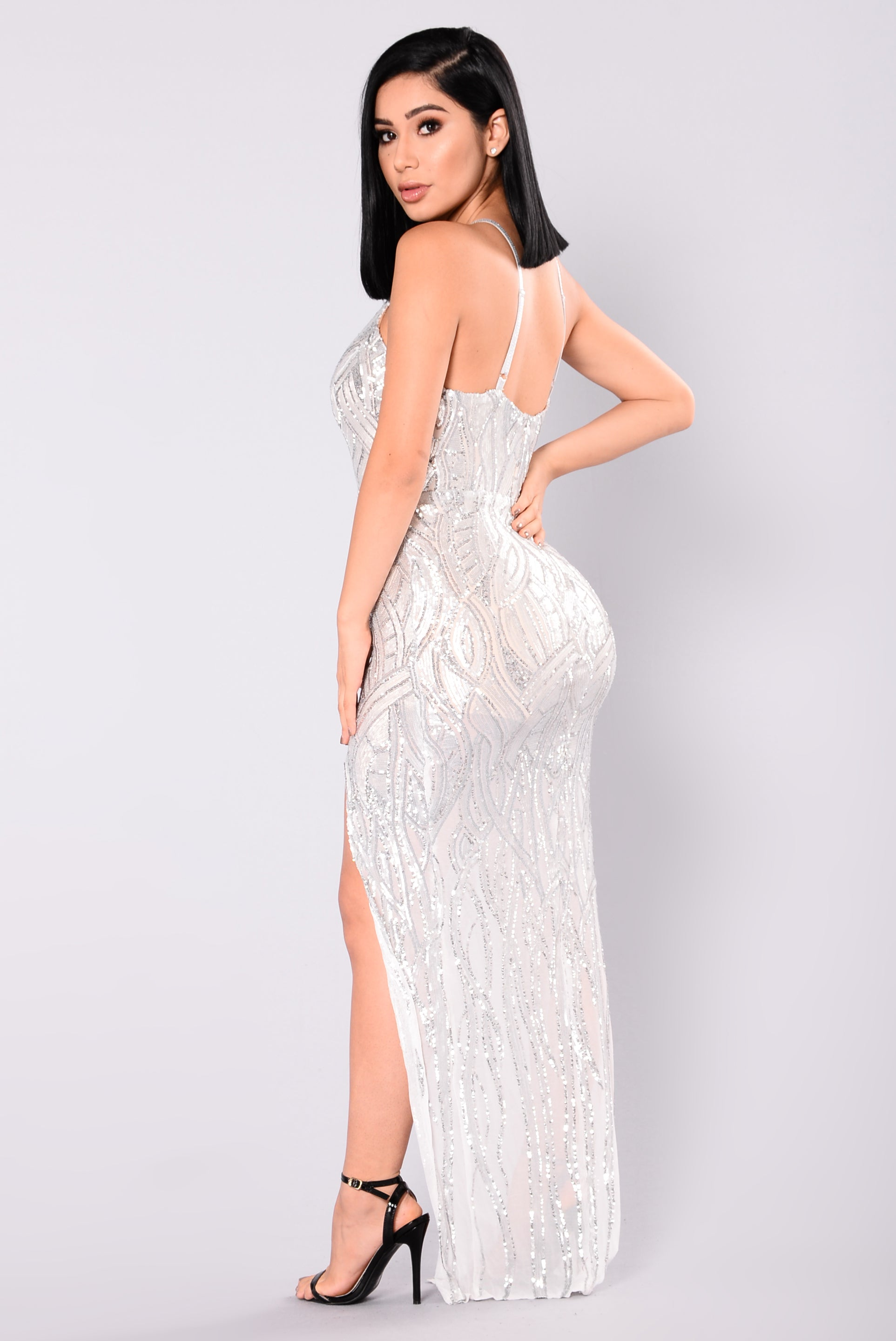 living a dream sequin dress  nude