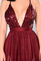 Razzle Baby Sequin Dress - Wine