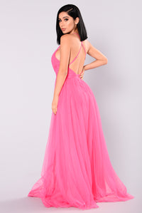 On The Runway Maxi Dress - Fuchsia