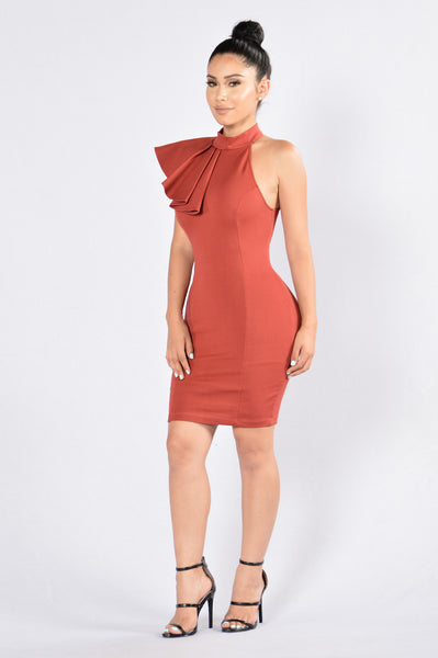 Ruffle Butter Dress - Cognac
