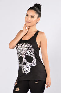 Sugar Skull Tank Top - Black