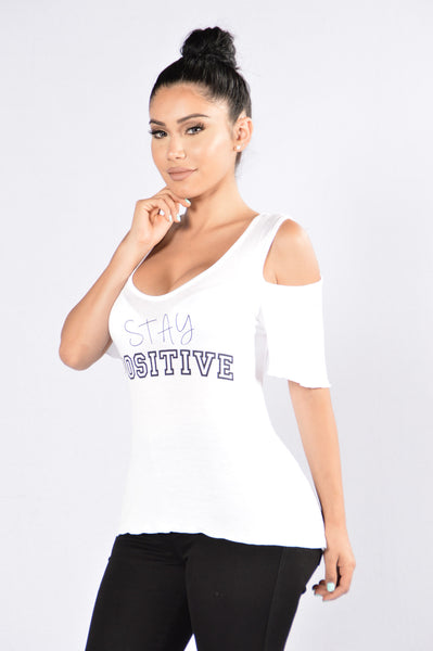 Stay Positive Top - White