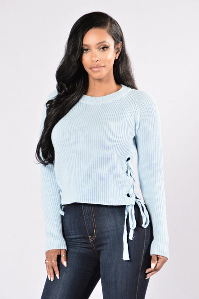 Lace Up Armour Sweater - Dusty Blue