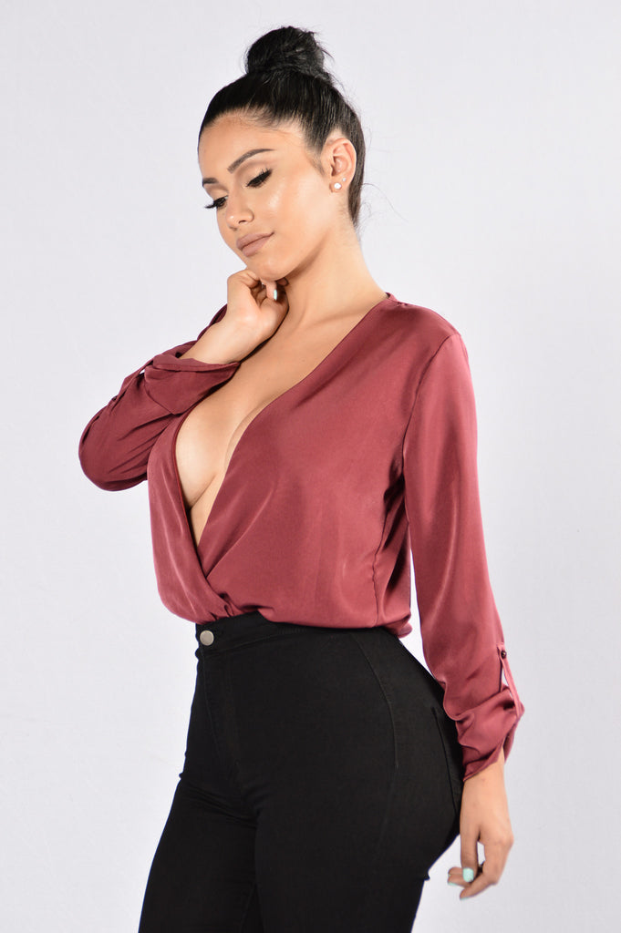 Smooth and Silky Bodysuit - Burgundy