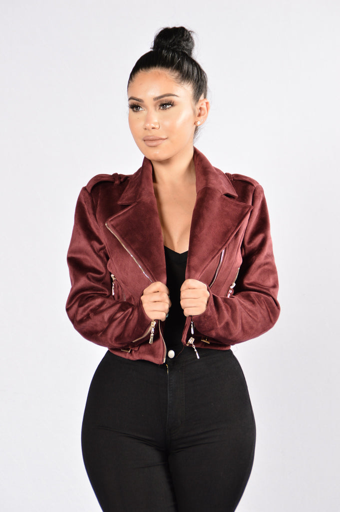 Fall Into Suede Jacket - Burgundy