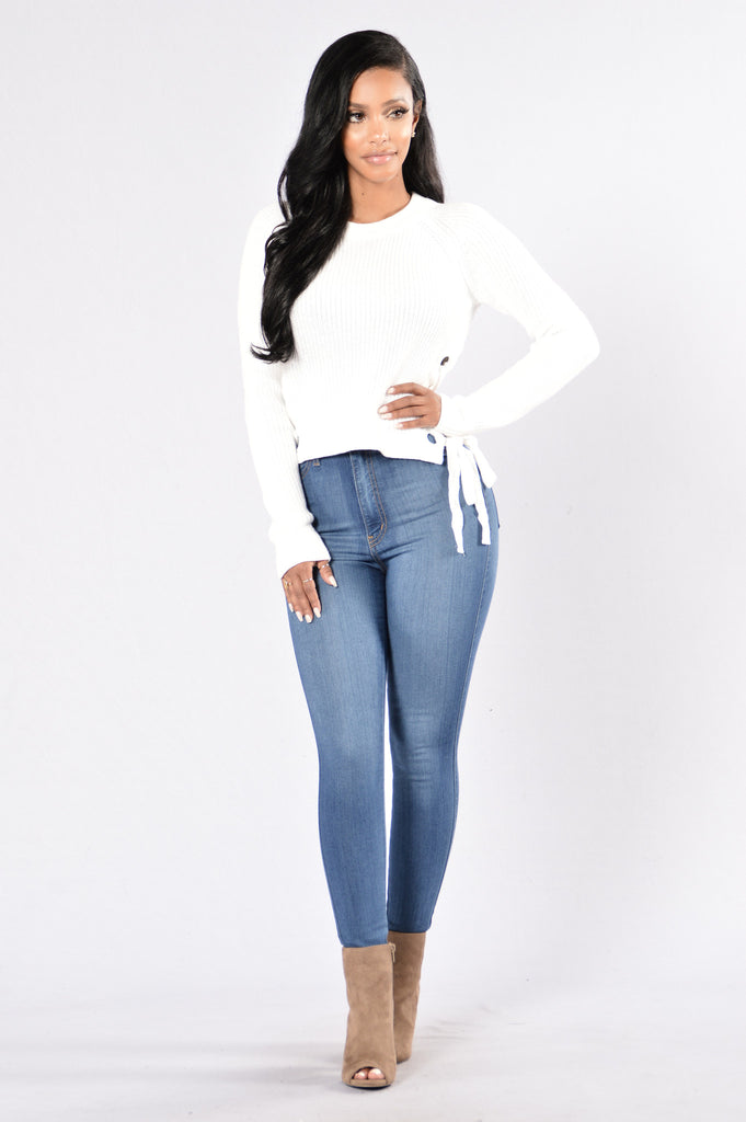 Lace Up Armour Sweater - Ivory