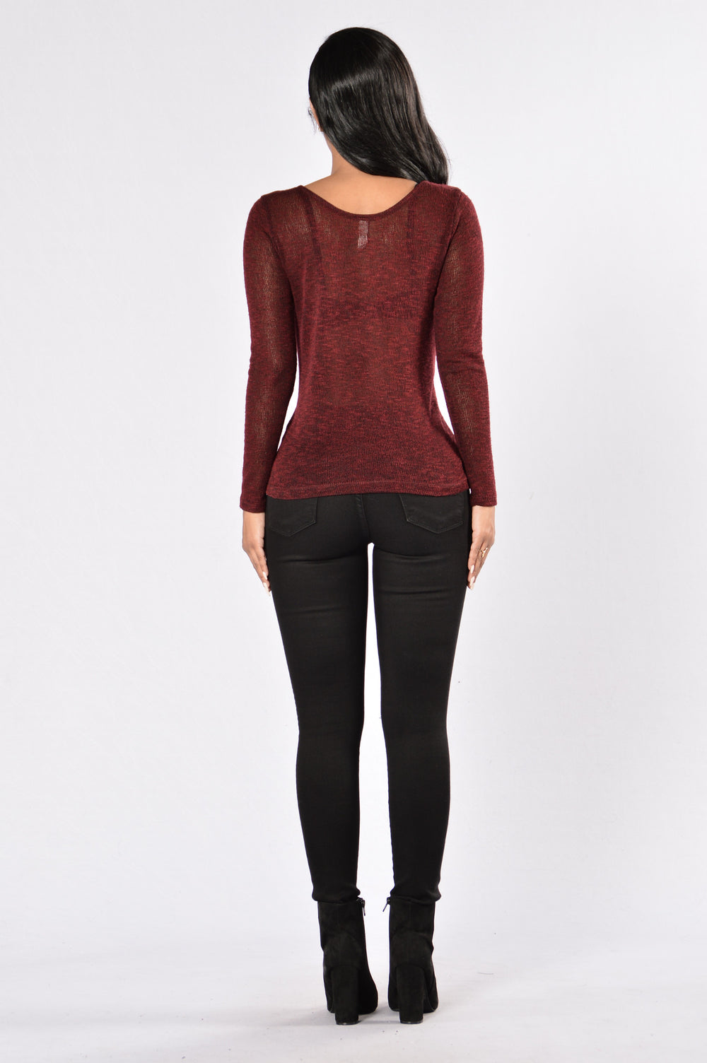 Caught in a Crossfire Sweater - Burgundy
