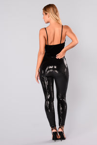 Paola Sequin Stretch Pants - Black