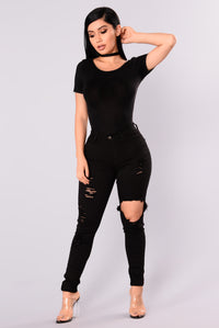 Daniela Mineral Wash Bodysuit - Black