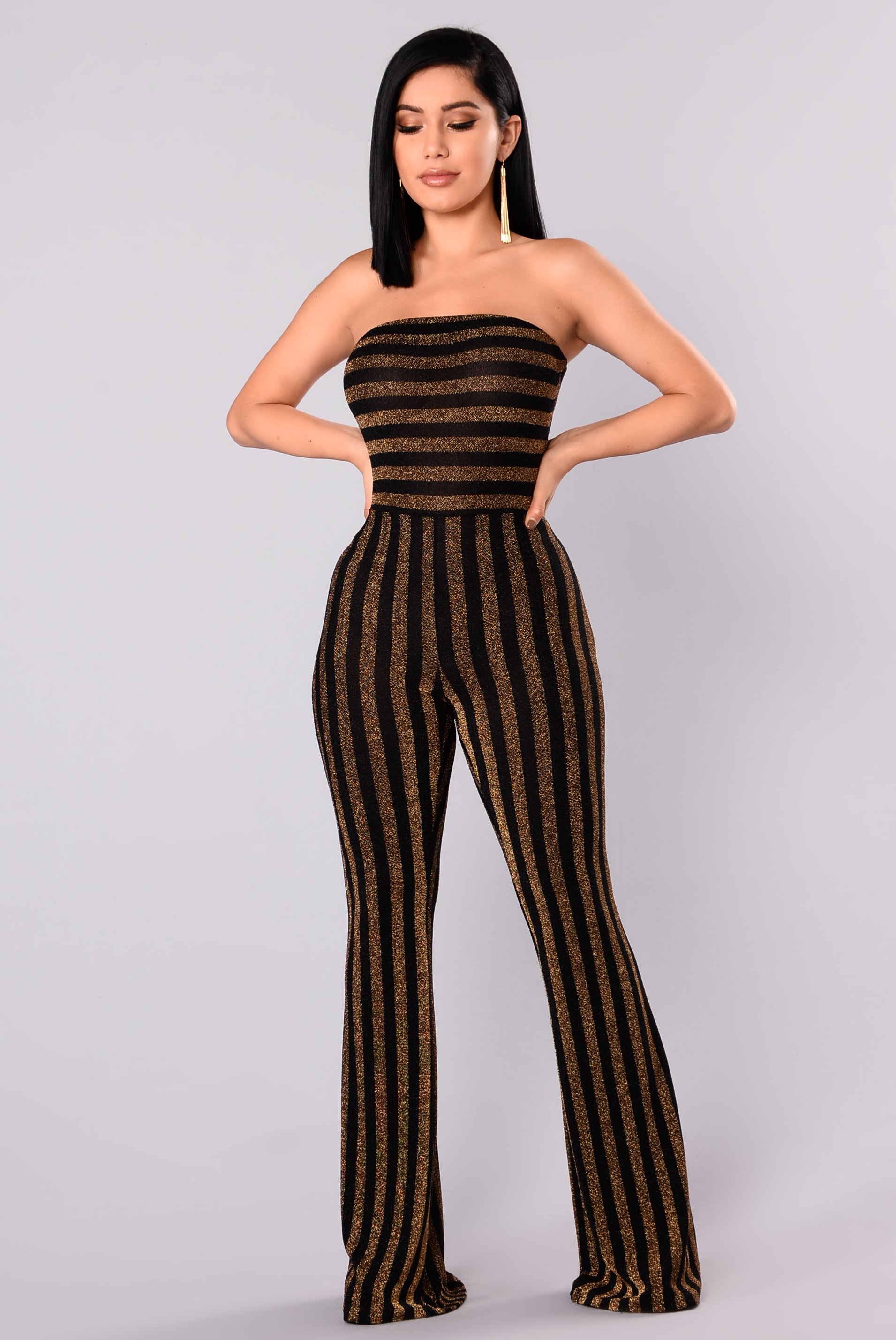 9842cc071c13 Down And Counting Striped Jumpsuit - Gold Black