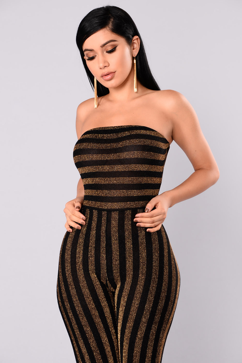 Down And Counting Striped Jumpsuit - Gold/Black