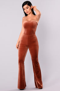 Love You Long Time Velvet Jumpsuit - Mocha