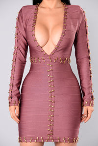 Zarah Bandage Dress - Dark Mauve