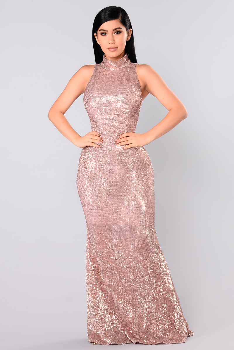 Having A Ball Sequin Dress - RoseGold