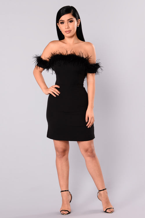 Debora Feather Dress - Black