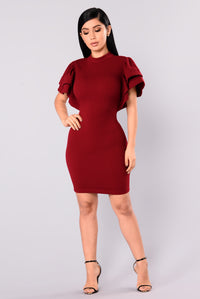 Serafina Ruffle Dress - Burgundy