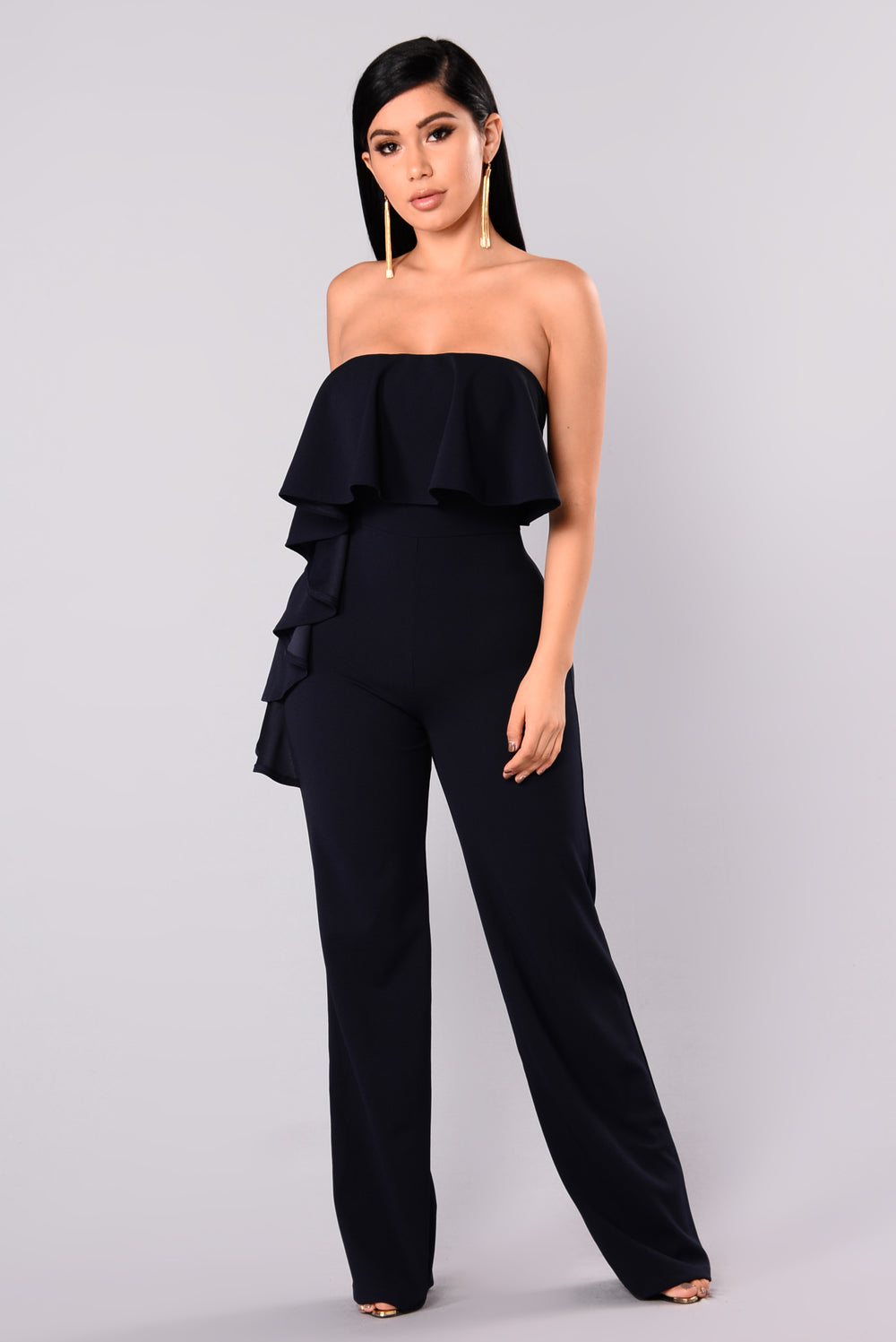 Cruel Existence Ruffle Jumpsuit - Navy