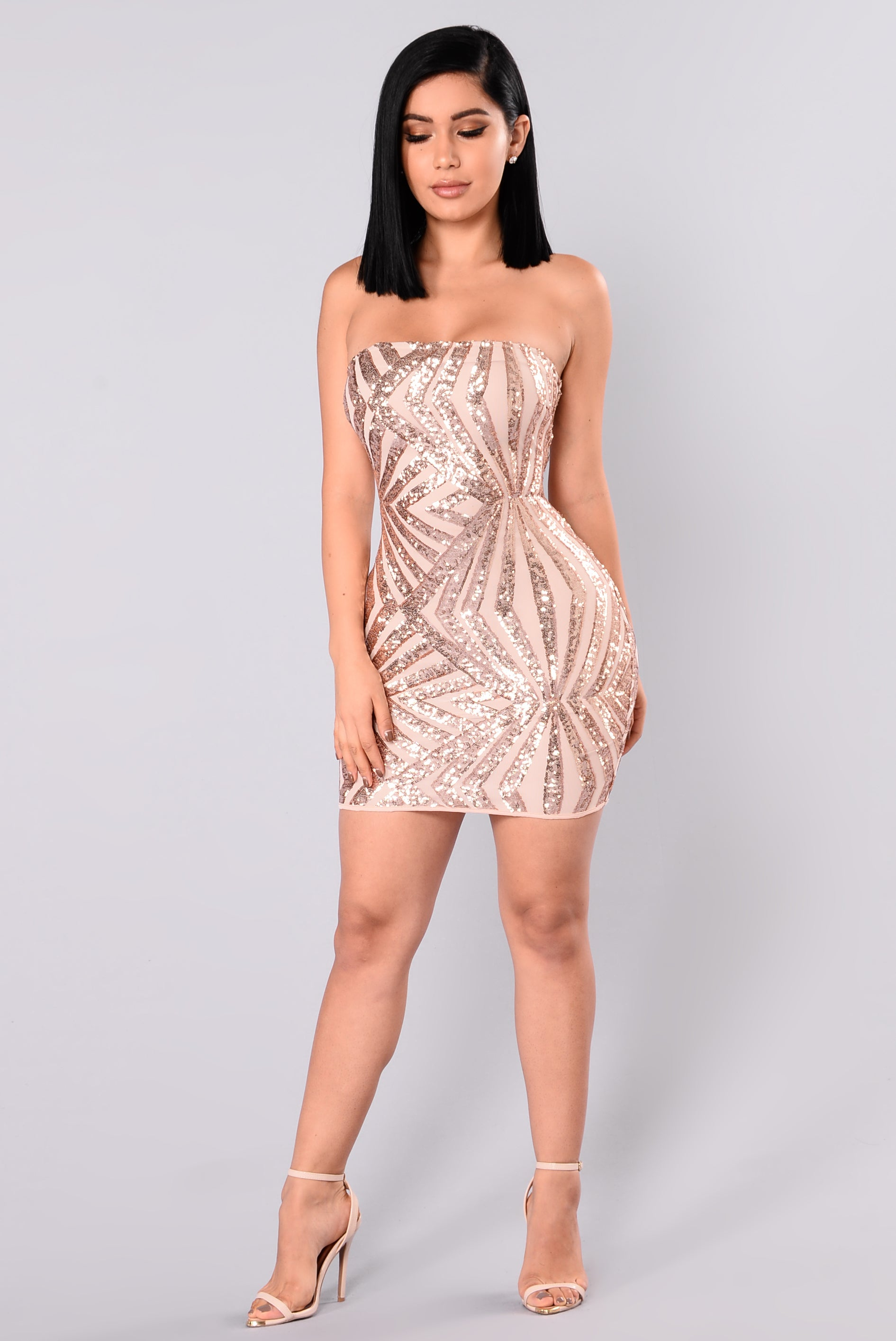 She S A Diva Sequin Dress Rose Gold Nude