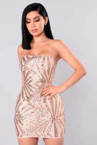 She's A Diva Sequin Dress - Rose Gold/Nude