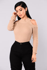 Cailyn Mock Neck Sweater - Khaki Angle 1