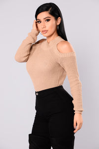Cailyn Mock Neck Sweater - Khaki Angle 4