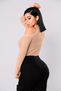 Cailyn Mock Neck Sweater - Khaki Angle 6